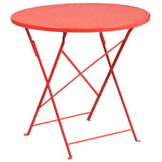 "Commercial Grade 30"" Round Coral Indoor-Outdoor Steel Folding Patio Table"