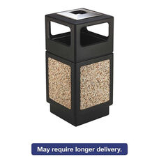 Safco® Canmeleon Ash/Trash Receptacle - Square - Aggregate/Polyethylene - 38gal - Black