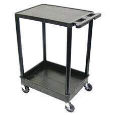 Heavy Duty Multi-Purpose Mobile Utility Cart with 1 Flat Shelf and 1 Tub Shelf - Black - 24