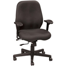Aviator 27.5'' W x 24'' D x 37'' H Adjustable Height Mid Back Multi Function Fabric Chair - Black
