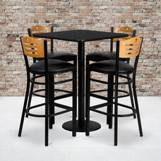 30'' Square Black Laminate Table Set with Wood Slat Back Metal Barstool and Black Vinyl Seat, Seats 4