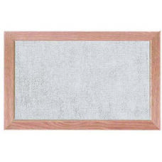 Burlap Weave Vinyl Bulletin Board with Red Oak Frame and Clear Lacquer Finish - Stone - 12