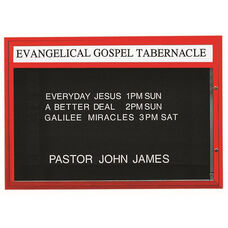 Double Sided Illuminated Community Board with Header and Red Powder Coat Finish - 42