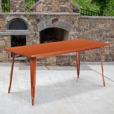 """Commercial Grade 31.5"""" x 63"""" Rectangular Copper Metal Indoor-Outdoor Table"""