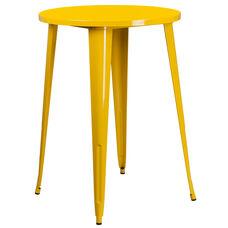 "Commercial Grade 30"" Round Yellow Metal Indoor-Outdoor Bar Height Table"
