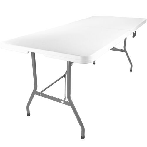 Advantage 6 ft. Bifold Rectangular White Plastic Folding Table