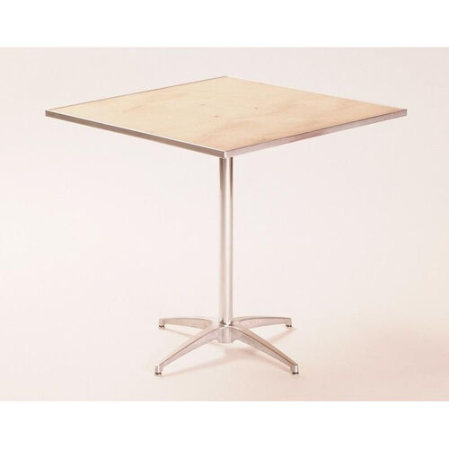Standard Series Square Pedestal Table with Chrome Plated Steel Column and Plywood Top - 36