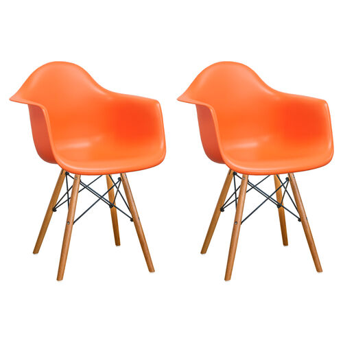 Our Paris Tower Arm Chair with Wood Legs and Orange Seat - Set of 2 is on sale now.