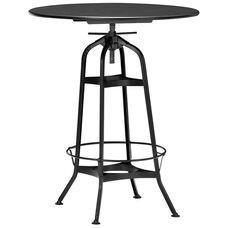 Toledo Industrial Black Adjustable Bar Table with Round Top