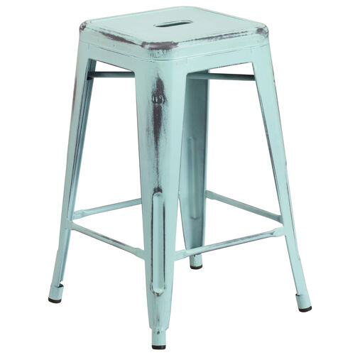 "Our Commercial Grade 24"" High Backless Distressed Green-Blue Metal Indoor-Outdoor Counter Height Stool is on sale now."