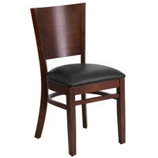 Walnut Finished Solid Back Wooden Restaurant Chair with Black Vinyl Seat