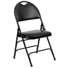 HERCULES Series Ultra-Premium Triple Braced Black Vinyl Metal Folding Chair with Easy-Carry Handle