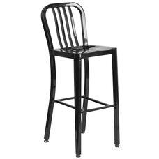 "Commercial Grade 30"" High Black Metal Indoor-Outdoor Barstool with Vertical Slat Back"