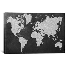 Grey Map by Natasha Westcoat Gallery Wrapped Canvas Artwork