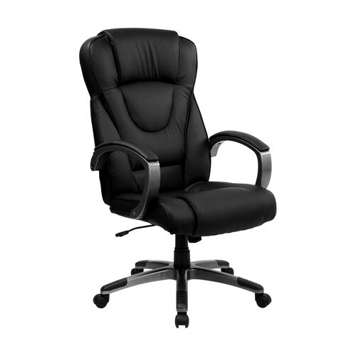 Our High Back Black LeatherSoft Executive Swivel Office Chair with Titanium Nylon Base and Loop Arms is on sale now.