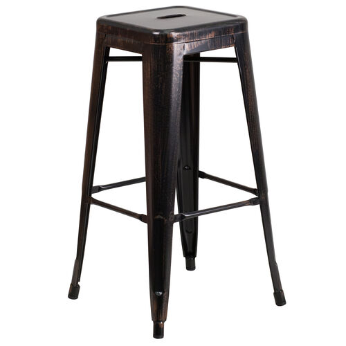 """Our Commercial Grade 30"""" High Backless Black-Antique Gold Metal Indoor-Outdoor Barstool with Square Seat is on sale now."""