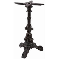 Dolphin Decorative Cast Iron Table Base with Column and 16'' Base - Black