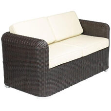 Apollo Beach Collection Outdoor Wicker Love Seat with Arms and Sunbrella Cushions - Indo