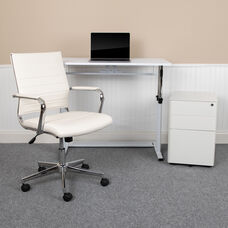 Work From Home Kit - Adjustable Computer Desk, LeatherSoft Office Chair and Side Handle Locking Mobile Filing Cabinet