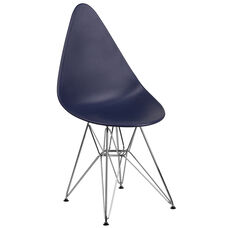 Allegra Series Teardrop Navy Plastic Chair with Chrome Base