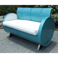 Del Ray Steel Drum Loveseat with White Accents