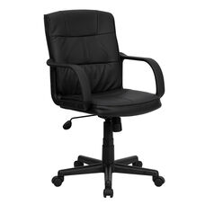 Mid-Back Black Leather Swivel Task Chair with Arms