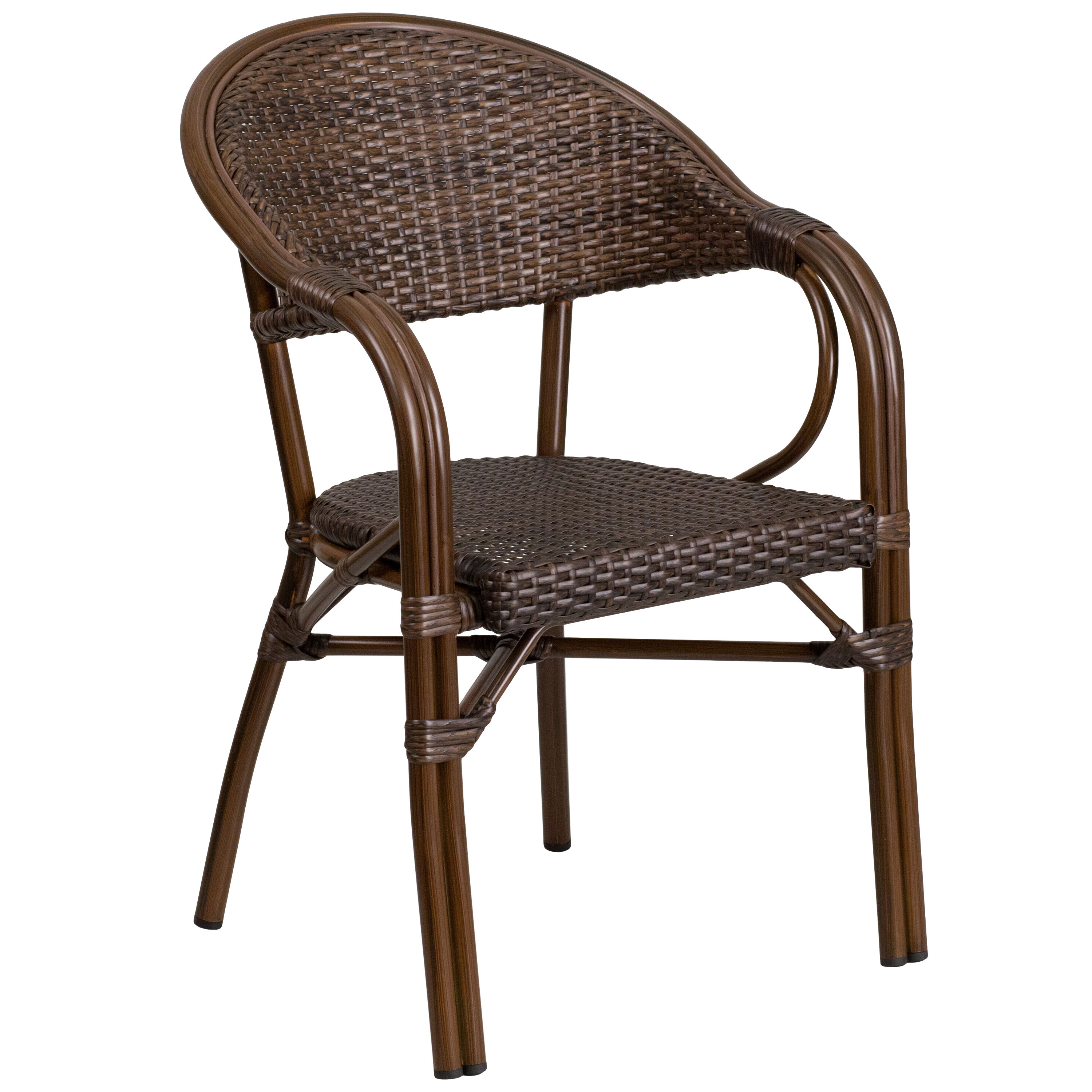 Milano Series Cocoa Rattan Restaurant Patio Chair With Bamboo Aluminum Frame