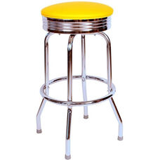 Retro Style Backless 30''H Swivel Bar Stool with Chrome Frame and Padded Seat - Yellow Vinyl