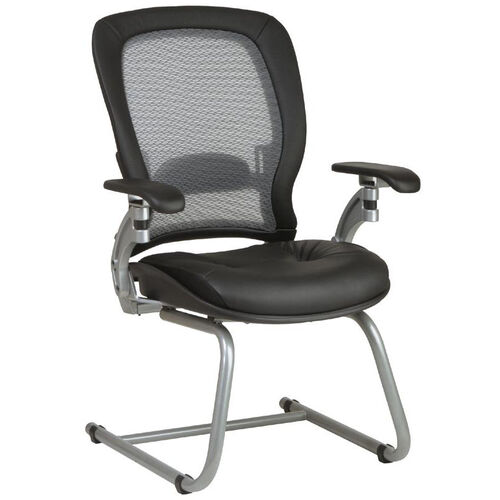 Our Space Light Air Grid Back Visitors Chair with LeatherSeat and Platinum Finish Sled Base is on sale now.