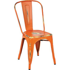 OSP Designs Bristow Stackable Armless Metal Chair - Set of 4 - Antique Orange