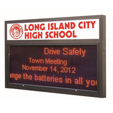 Multi-Configuration Bronze Anodized Marquee Red LED Motion Sign System with Sturdy Extruded Weather Proof Aluminum Cabinet and Easy-to-Use Software Included - 39.5