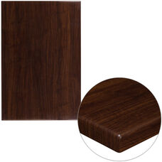 """30"""" x 45"""" Rectangular High-Gloss Walnut Resin Table Top with 2"""" Thick Edge"""