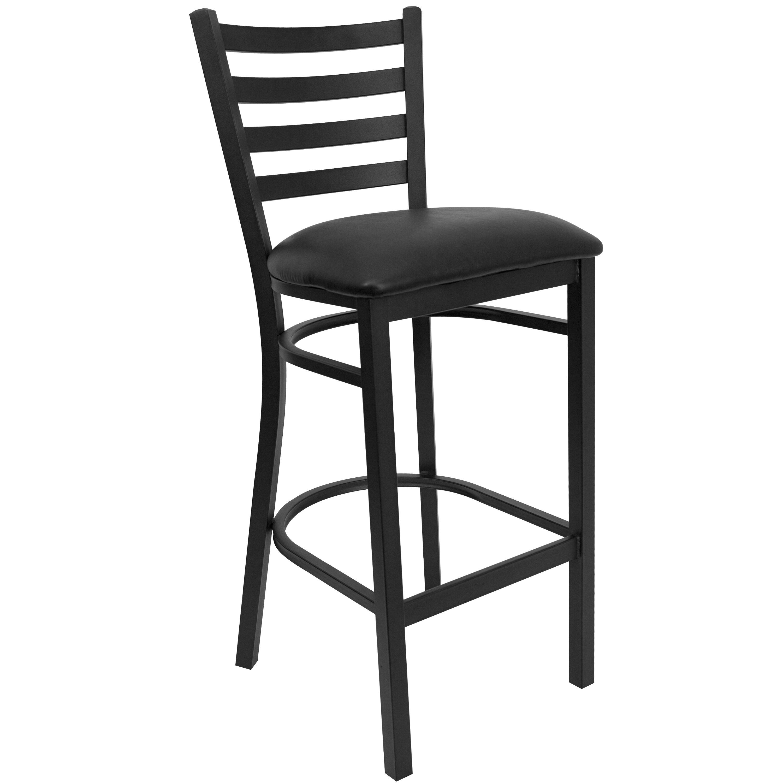 Black Ladder Back Metal Restaurant Barstool With Black Vinyl Seat