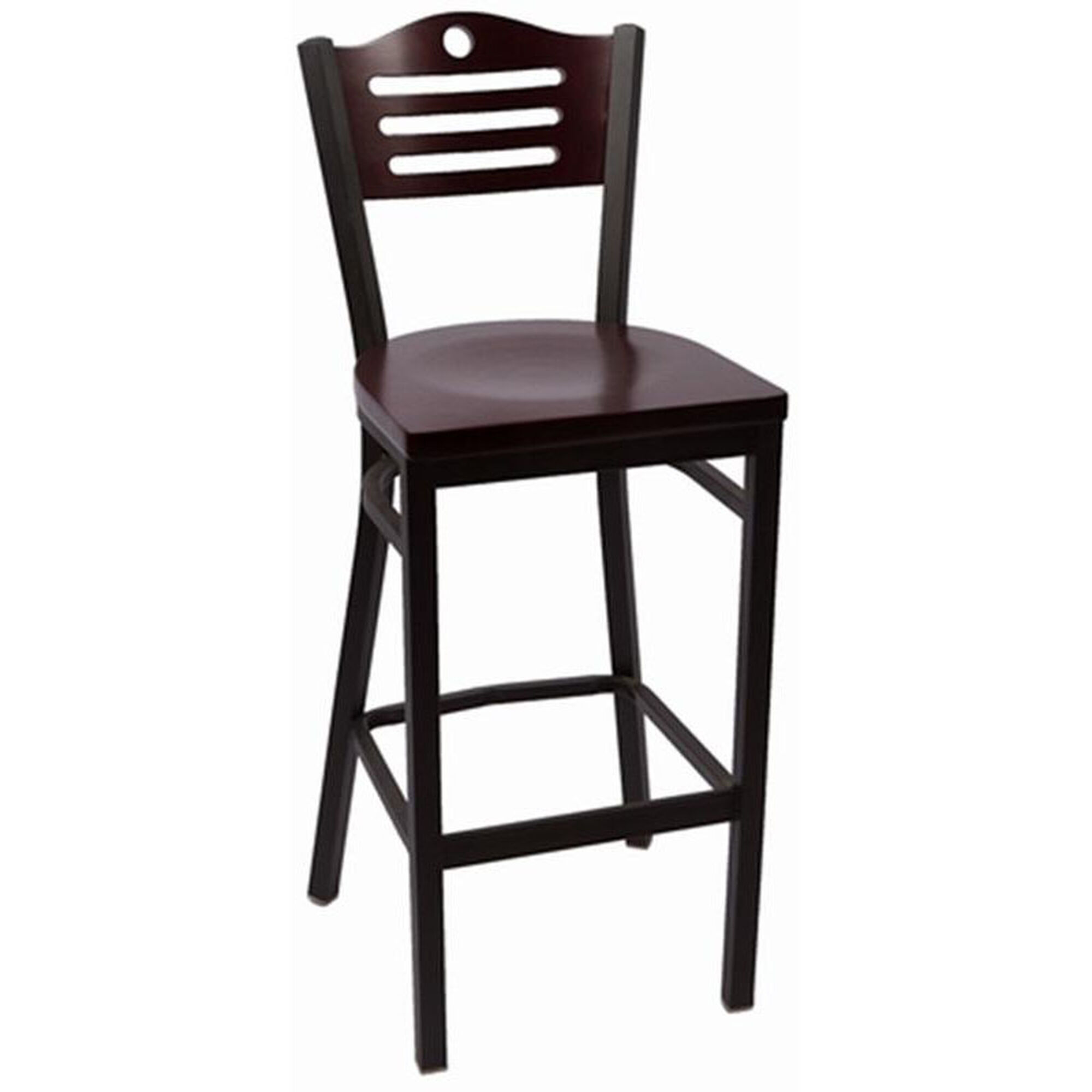 Our eagle series wood back armless barstool with steel