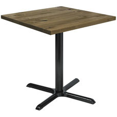 Urban Loft Collection 30'' Square Vintage Wood Top with Black Counter Height Table Base - Natural