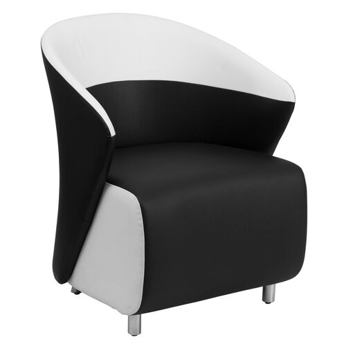 Our Black Leather Lounge Chair with Melrose White Detailing is on sale now.