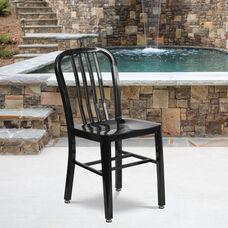 Commercial Grade Black Metal Indoor-Outdoor Chair