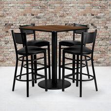 36'' Square Walnut Laminate Table Set with Grid Back Metal Barstool and Black Vinyl Seat, Seats 4