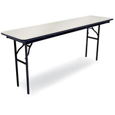 96''D Rectangular Laminate Seminar Table with Locking H-Style Legs