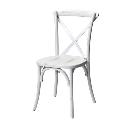 Rustic Sonoma Solid Wood Cross Back Stackable Dining Chair - White Wash
