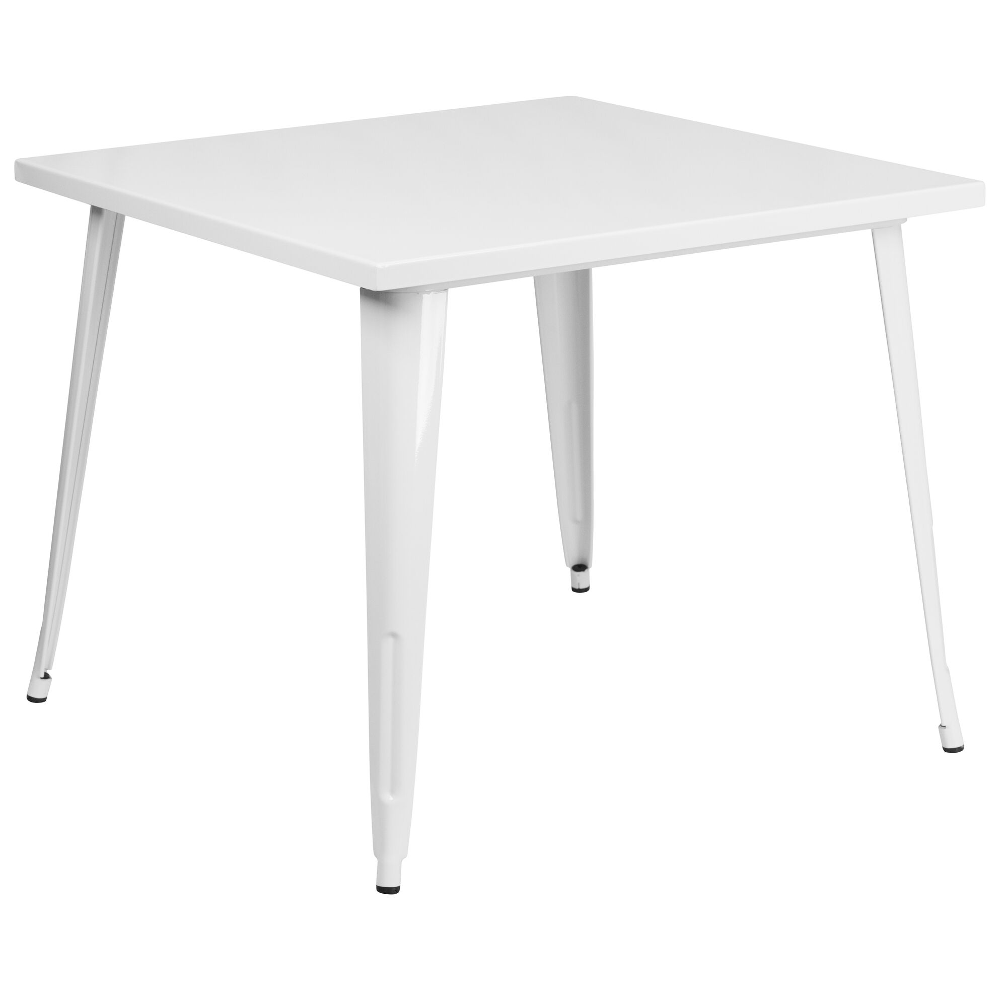 Flash Furniture 35.5'' Square White Metal Indoor-Outdoor ...