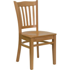 Natural Wood Finished Vertical Slat Back Wooden Restaurant Chair