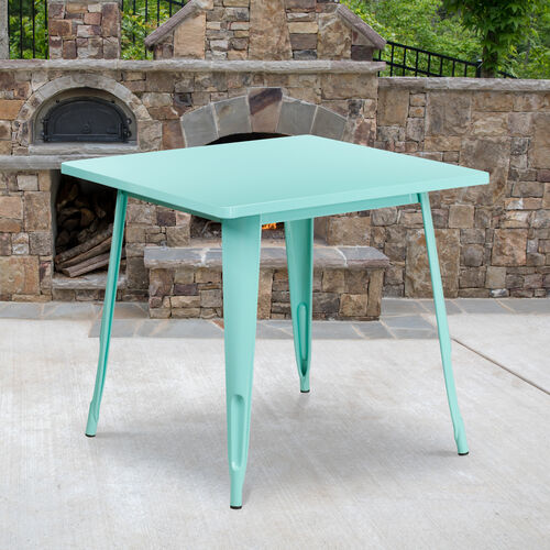 """Our Commercial Grade 31.5"""" Square Mint Green Metal Indoor-Outdoor Table is on sale now."""