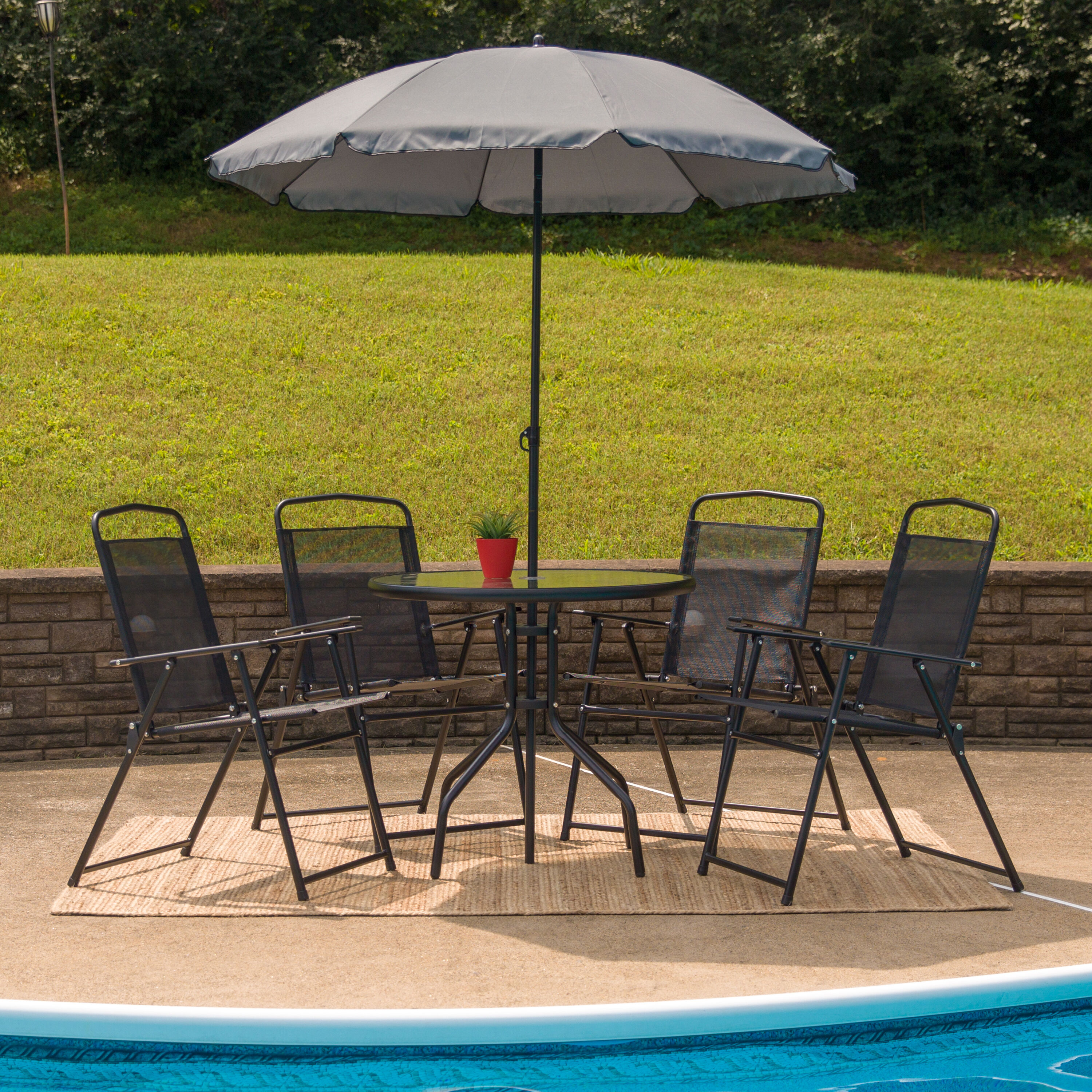 Beau ... Our Nantucket 6 Piece Black Patio Garden Set With Table, Umbrella And 4  Folding Chairs ...