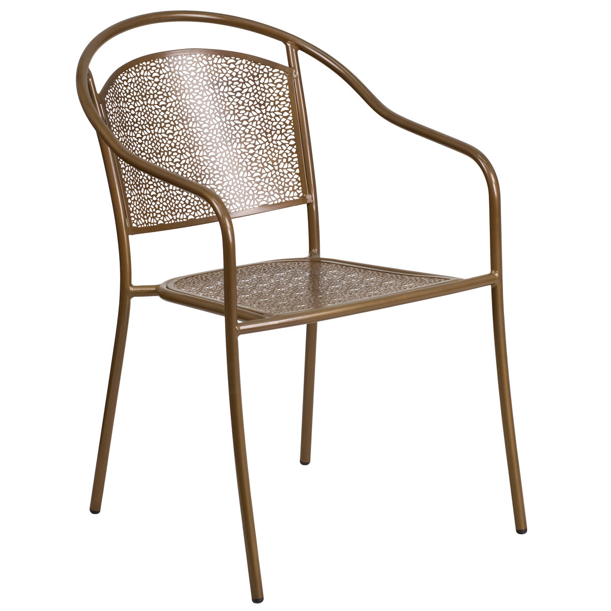 Our Gold Indoor Outdoor Steel Patio Arm Chair With Round Back Is On Now