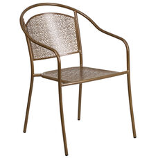 Gold Indoor-Outdoor Steel Patio Arm Chair with Round Back