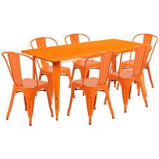"Commercial Grade 31.5"" x 63"" Rectangular Orange Metal Indoor-Outdoor Table Set with 6 Stack Chairs"