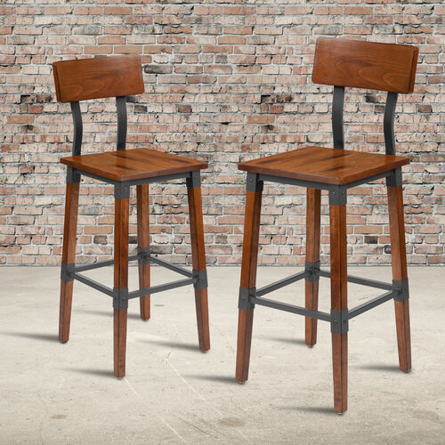 Our 2 Pack Rustic Antique Walnut Industrial Wood Dining Chair is on sale now.