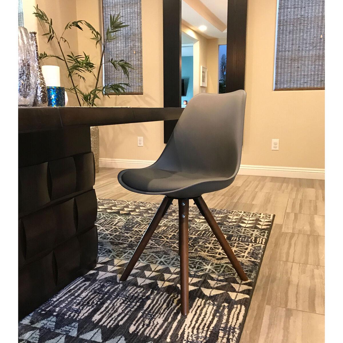 Viborg Mid Century Grey Side Chair With Walnut Wood Base