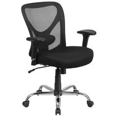HERCULES Series Big & Tall 400 lb. Rated Black Mesh Swivel Task Chair with Height Adjustable Back and Arms